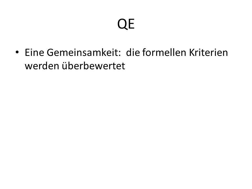 QE Eine Gemeinsamkeit: die formellen Kriterien werden überbewertet