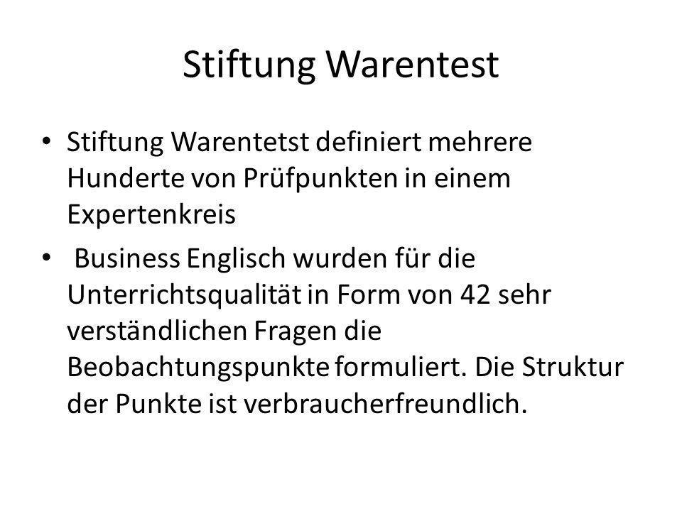 Stiftung Warentest Stiftung Warentetst definiert mehrere Hunderte von Prüfpunkten in einem Expertenkreis Business Englisch wurden für die Unterrichtsq