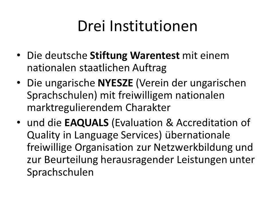 Drei Institutionen Die deutsche Stiftung Warentest mit einem nationalen staatlichen Auftrag Die ungarische NYESZE (Verein der ungarischen Sprachschule