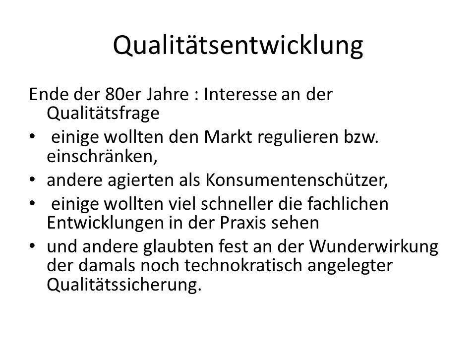 Qualitätsentwicklung Ende der 80er Jahre : Interesse an der Qualitätsfrage einige wollten den Markt regulieren bzw. einschränken, andere agierten als