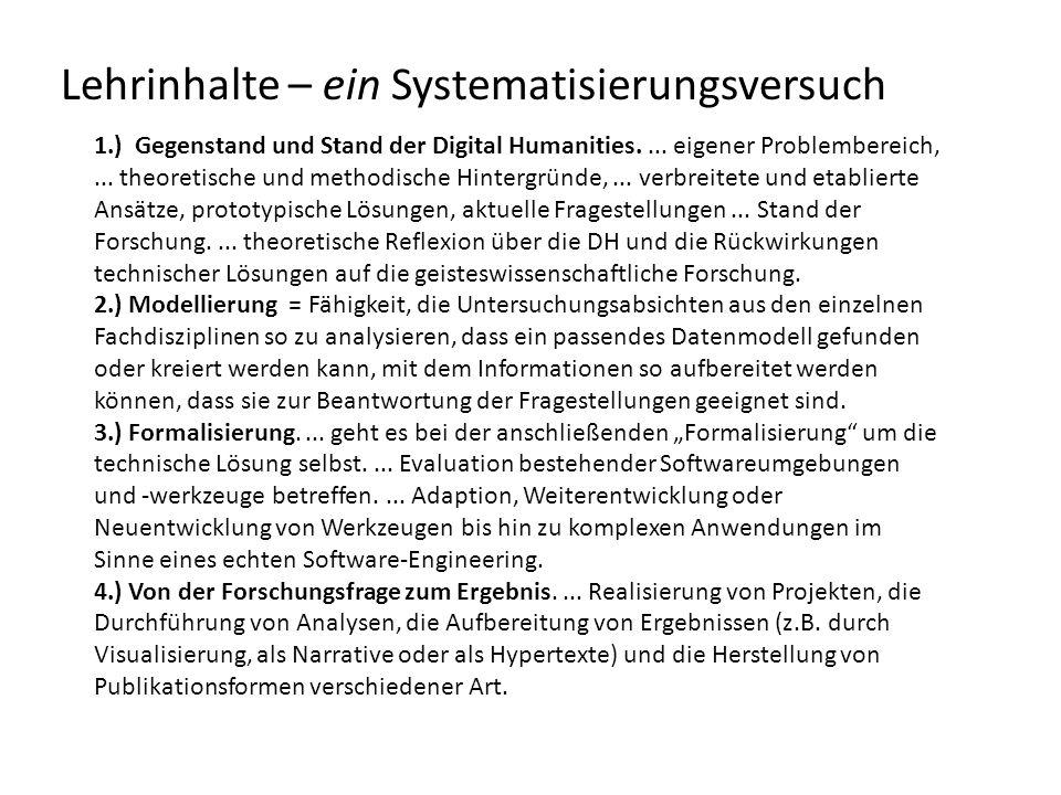 Lehrinhalte – ein Systematisierungsversuch 1.) Gegenstand und Stand der Digital Humanities....