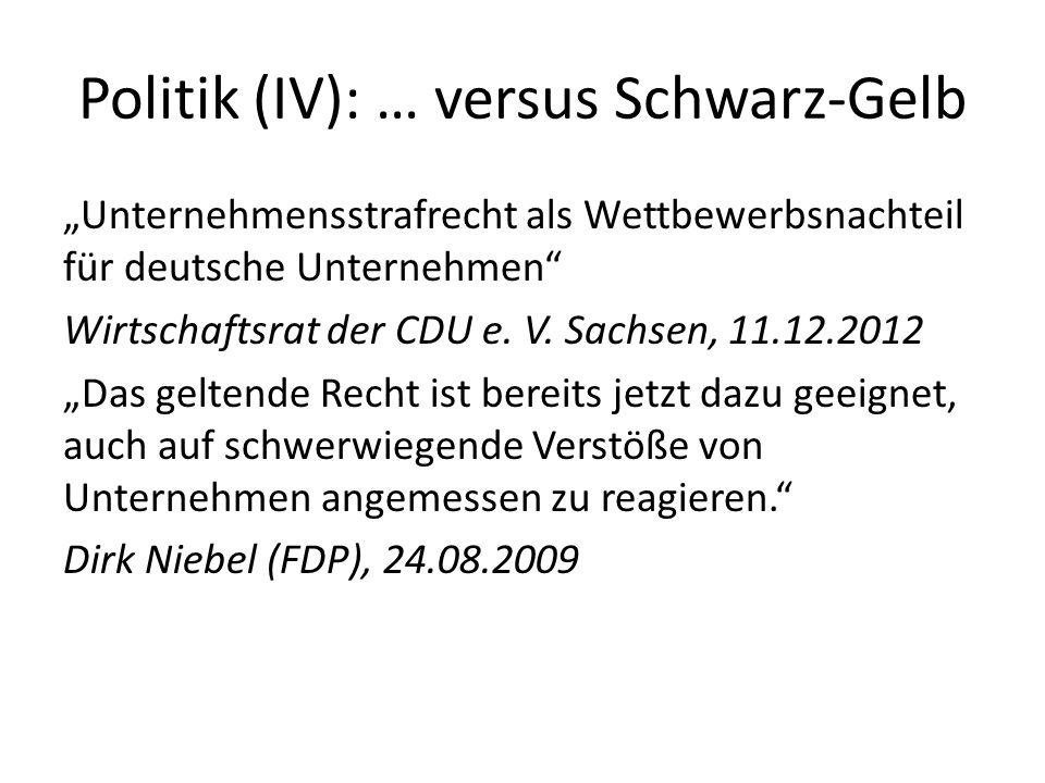 Politik (IV): … versus Schwarz-Gelb Unternehmensstrafrecht als Wettbewerbsnachteil für deutsche Unternehmen Wirtschaftsrat der CDU e. V. Sachsen, 11.1