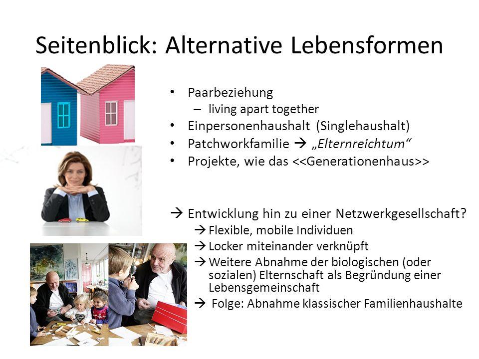 Seitenblick: Alternative Lebensformen Paarbeziehung – living apart together Einpersonenhaushalt (Singlehaushalt) Patchworkfamilie Elternreichtum Proje