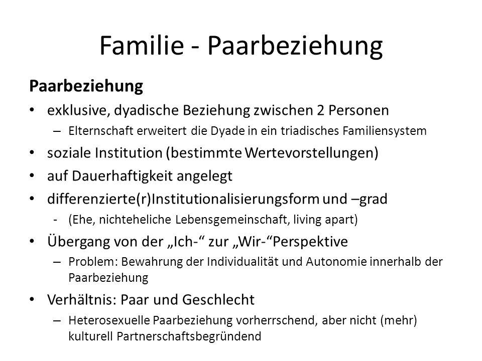 Familie - Paarbeziehung Paarbeziehung exklusive, dyadische Beziehung zwischen 2 Personen – Elternschaft erweitert die Dyade in ein triadisches Familie