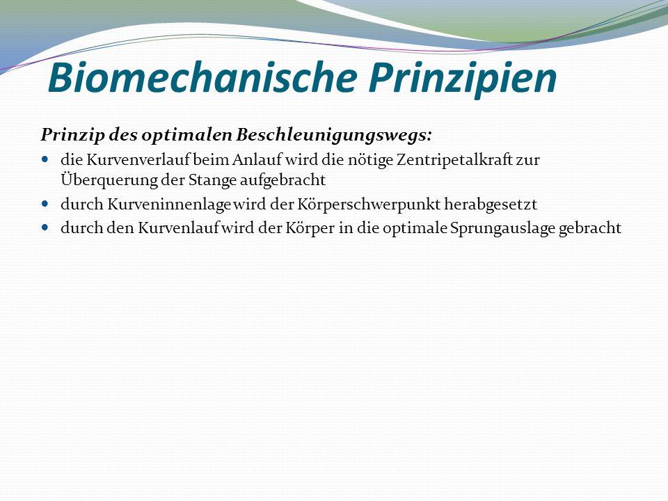 Biomechanische Prinzipien Prinzip des optimalen Beschleunigungswegs: die Kurvenverlauf beim Anlauf wird die nötige Zentripetalkraft zur Überquerung de