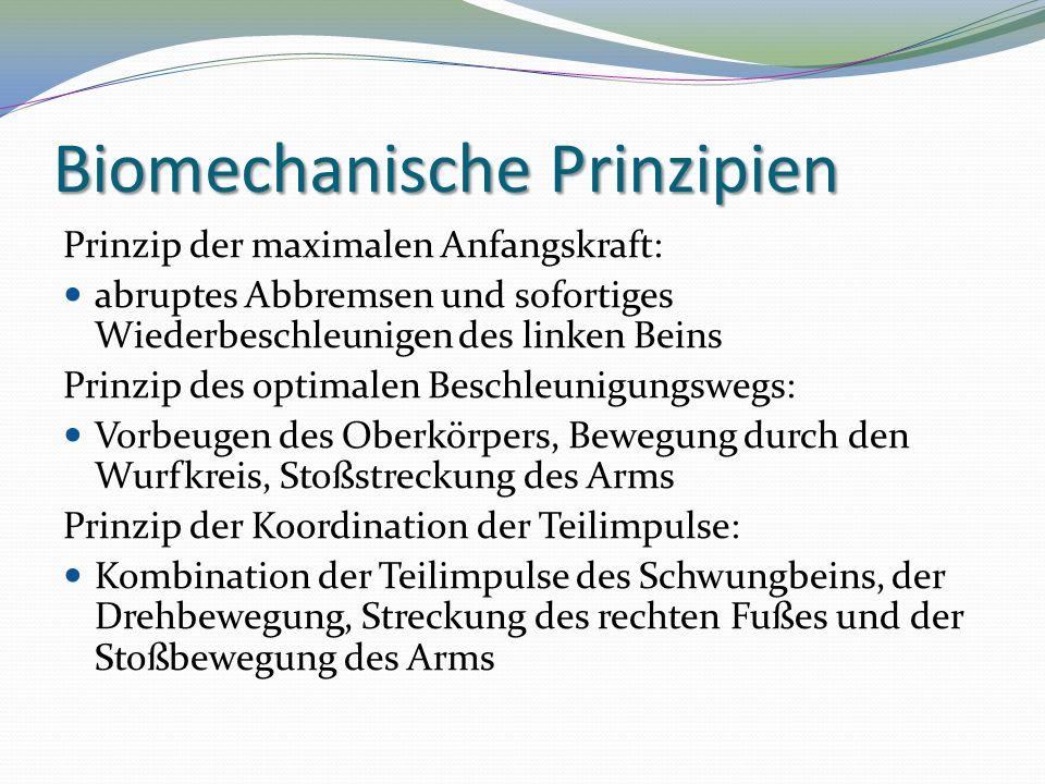 Biomechanische Prinzipien Prinzip der maximalen Anfangskraft: abruptes Abbremsen und sofortiges Wiederbeschleunigen des linken Beins Prinzip des optim