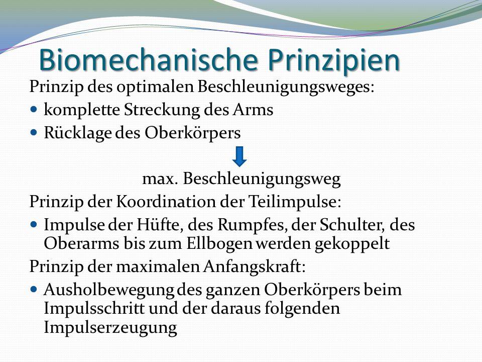 Biomechanische Prinzipien Prinzip des optimalen Beschleunigungsweges: komplette Streckung des Arms Rücklage des Oberkörpers max. Beschleunigungsweg Pr