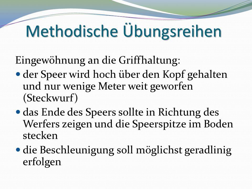Methodische Übungsreihen Eingewöhnung an die Griffhaltung: der Speer wird hoch über den Kopf gehalten und nur wenige Meter weit geworfen (Steckwurf) d