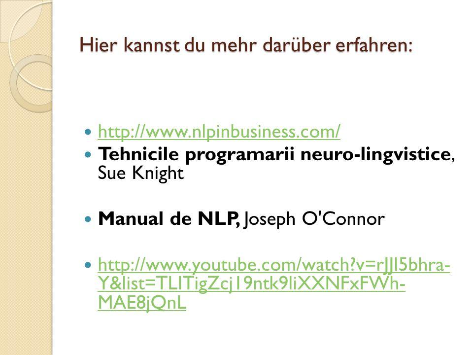 Hier kannst du mehr darüber erfahren: http://www.nlpinbusiness.com/ Tehnicile programarii neuro-lingvistice, Sue Knight Manual de NLP, Joseph O'Connor