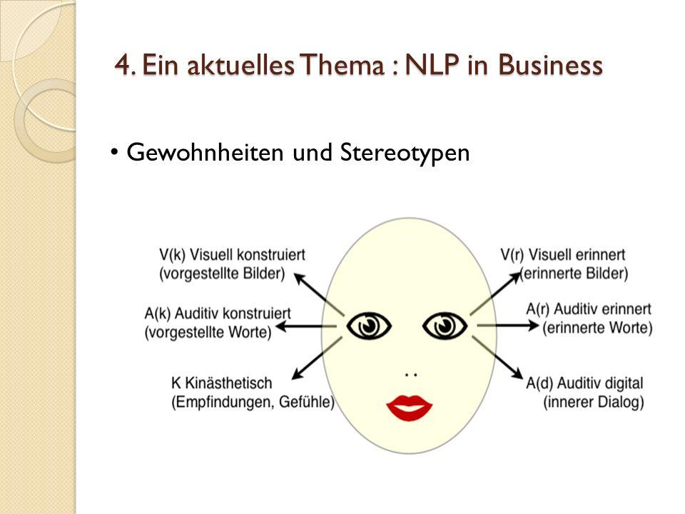 4. Ein aktuelles Thema : NLP in Business Gewohnheiten und Stereotypen