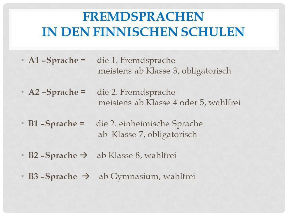 FREMDSPRACHEN IN DEN FINNISCHEN SCHULEN A1 –Sprache = die 1. Fremdsprache meistens ab Klasse 3, obligatorisch A2 –Sprache = die 2. Fremdsprache meiste