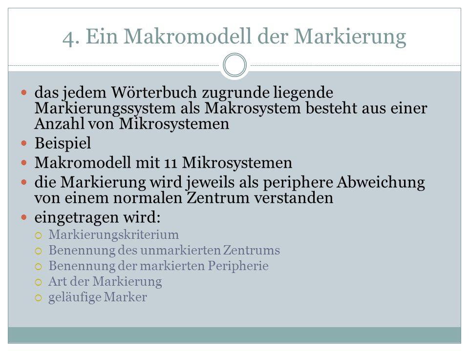 4. Ein Makromodell der Markierung das jedem Wörterbuch zugrunde liegende Markierungssystem als Makrosystem besteht aus einer Anzahl von Mikrosystemen