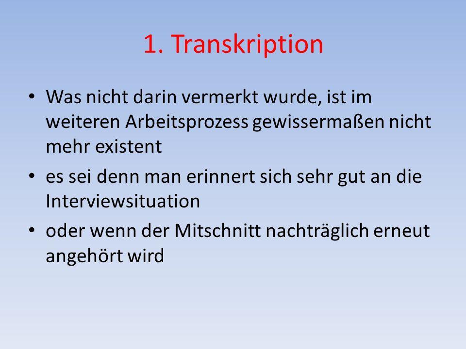 1. Transkription Was nicht darin vermerkt wurde, ist im weiteren Arbeitsprozess gewissermaßen nicht mehr existent es sei denn man erinnert sich sehr g