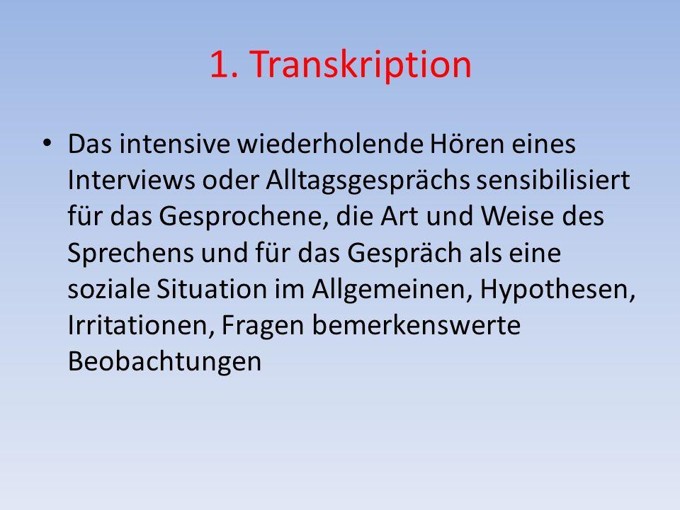 1. Transkription Das intensive wiederholende Hören eines Interviews oder Alltagsgesprächs sensibilisiert für das Gesprochene, die Art und Weise des Sp