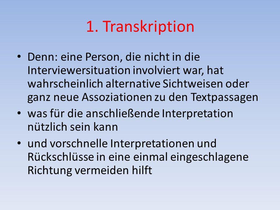 1. Transkription Denn: eine Person, die nicht in die Interviewersituation involviert war, hat wahrscheinlich alternative Sichtweisen oder ganz neue As