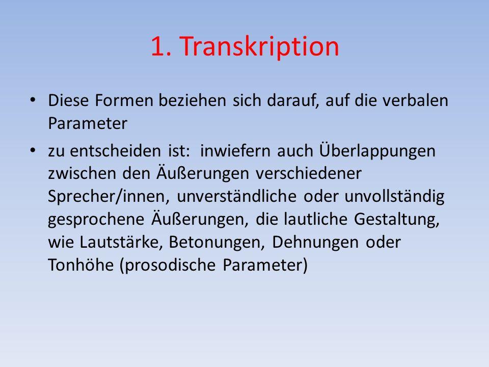 1. Transkription Diese Formen beziehen sich darauf, auf die verbalen Parameter zu entscheiden ist: inwiefern auch Überlappungen zwischen den Äußerunge