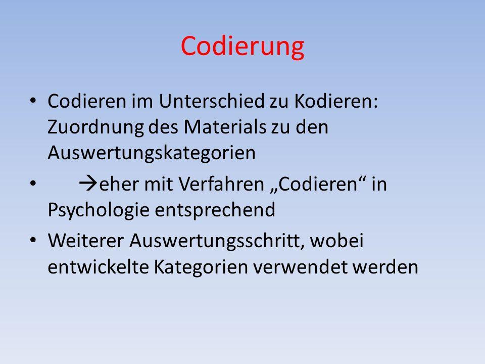 Codierung Codieren im Unterschied zu Kodieren: Zuordnung des Materials zu den Auswertungskategorien eher mit Verfahren Codieren in Psychologie entsprechend Weiterer Auswertungsschritt, wobei entwickelte Kategorien verwendet werden