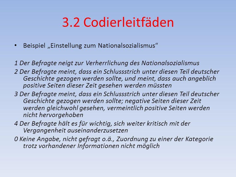 3.2 Codierleitfäden Beispiel Einstellung zum Nationalsozialismus 1 Der Befragte neigt zur Verherrlichung des Nationalsozialismus 2 Der Befragte meint,