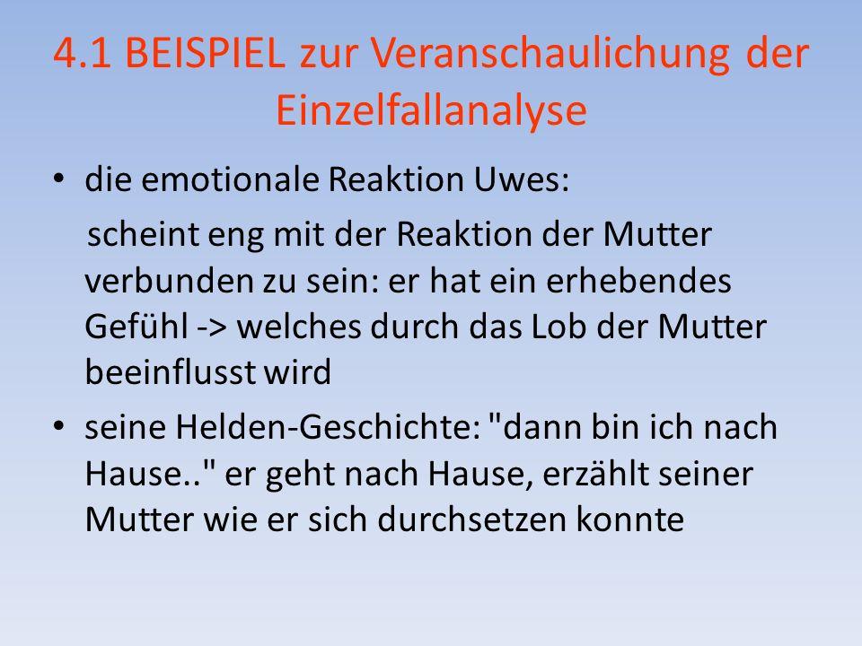 4.1 BEISPIEL zur Veranschaulichung der Einzelfallanalyse die emotionale Reaktion Uwes: scheint eng mit der Reaktion der Mutter verbunden zu sein: er h