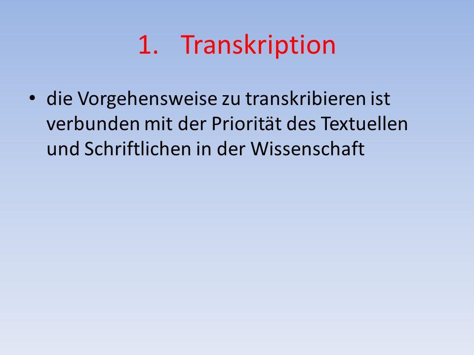 1.Transkription Schilderung der Interviewsituation: - Kurze Charakterisierung der Situation - Ggf.
