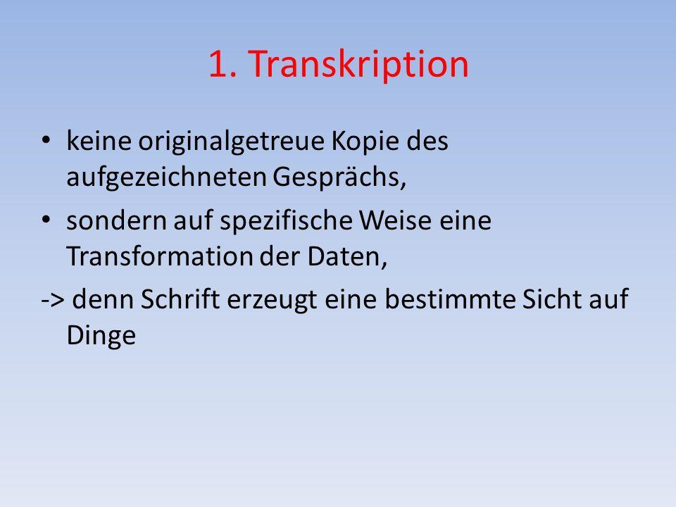 1. Transkription keine originalgetreue Kopie des aufgezeichneten Gesprächs, sondern auf spezifische Weise eine Transformation der Daten, -> denn Schri