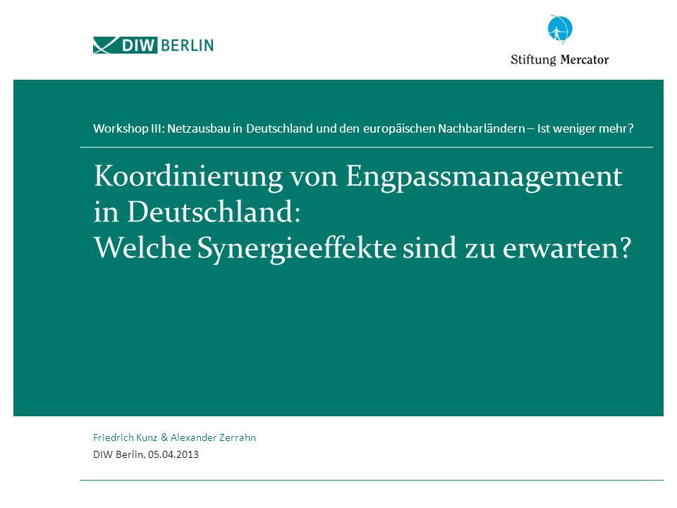1 Engpassmanagement in Deutschland 2 Modellbeschreibung 3 Ergebnisse 4 Schlussfolgerungen Inhalt Friedrich Kunz, 05.04.2013 2 Koordinierung von Engpassmanagement in Deutschland