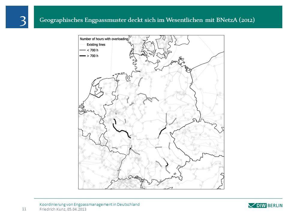 Geographisches Engpassmuster deckt sich im Wesentlichen mit BNetzA (2012) Friedrich Kunz, 05.04.2013 11 Koordinierung von Engpassmanagement in Deutsch