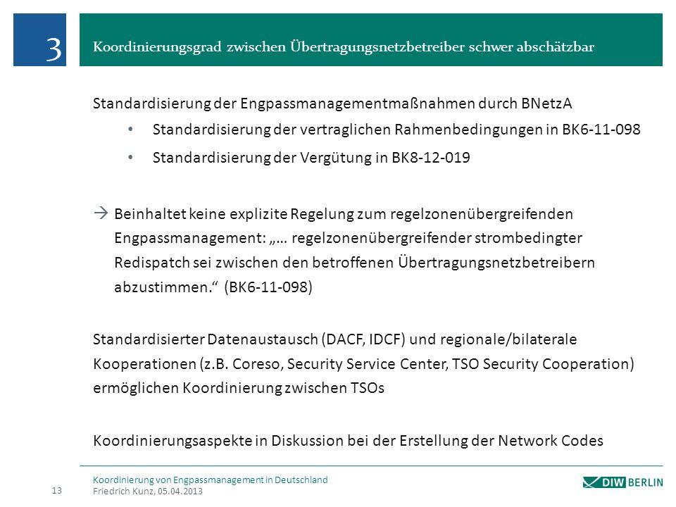 Koordinierungsgrad zwischen Übertragungsnetzbetreiber schwer abschätzbar Friedrich Kunz, 05.04.2013 13 Koordinierung von Engpassmanagement in Deutschl