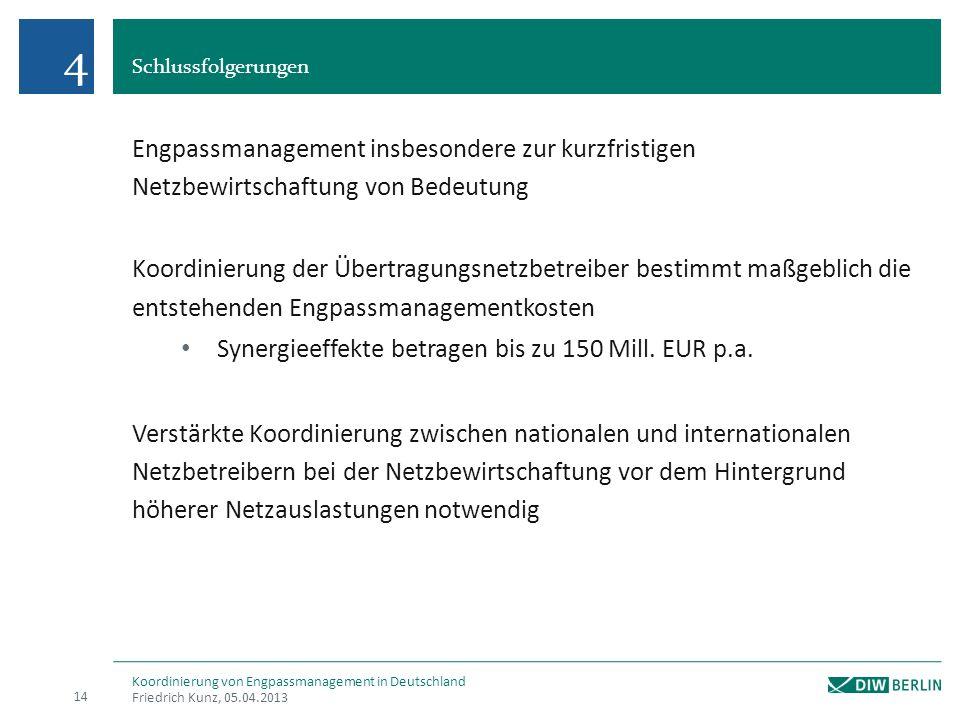 Schlussfolgerungen Friedrich Kunz, 05.04.2013 14 Koordinierung von Engpassmanagement in Deutschland Engpassmanagement insbesondere zur kurzfristigen N