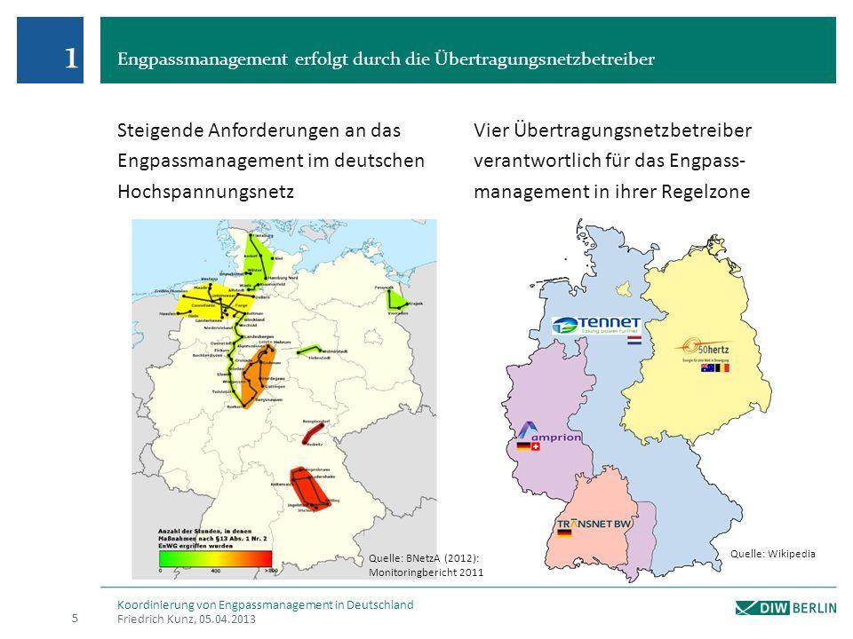 Engpassmanagement erfolgt durch die Übertragungsnetzbetreiber Friedrich Kunz, 05.04.2013 Koordinierung von Engpassmanagement in Deutschland Steigende