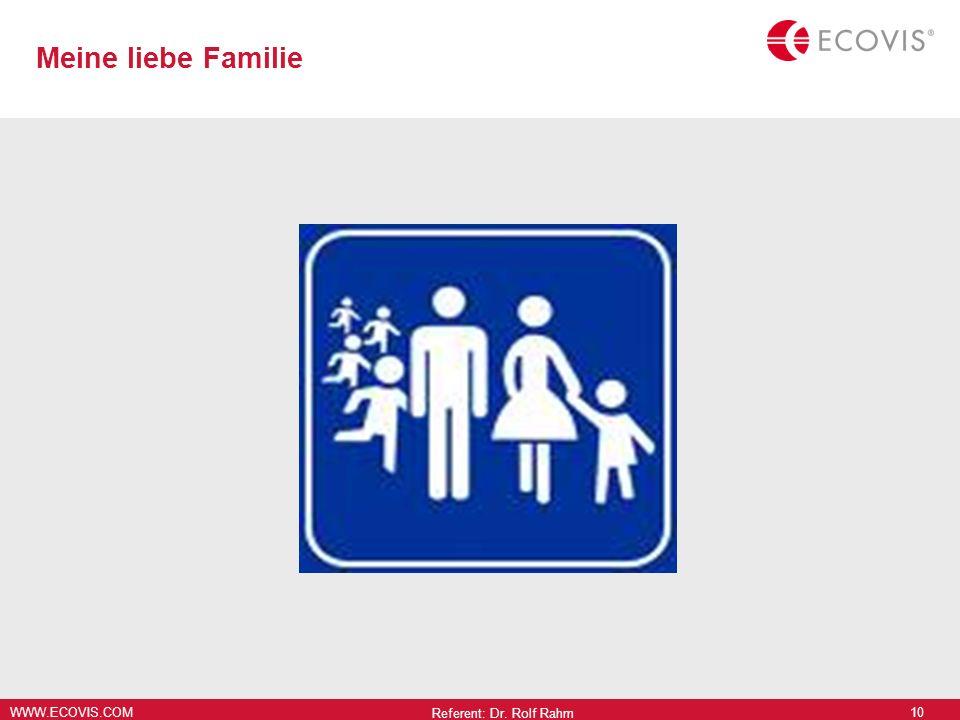 WWW.ECOVIS.COM Meine liebe Familie Referent: Dr. Rolf Rahm 10