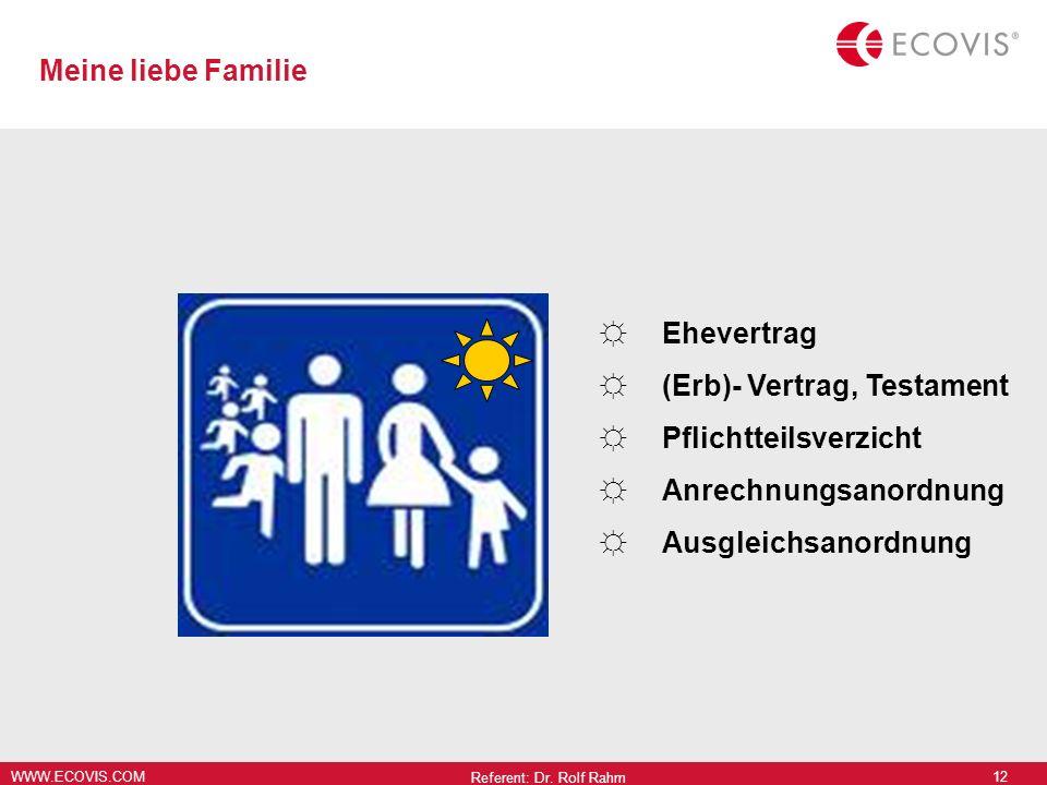 WWW.ECOVIS.COM Referent: Dr. Rolf Rahm 12 Ehevertrag (Erb)- Vertrag, Testament Pflichtteilsverzicht Anrechnungsanordnung Ausgleichsanordnung Meine lie