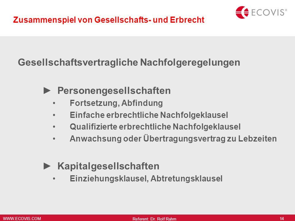 WWW.ECOVIS.COM Zusammenspiel von Gesellschafts- und Erbrecht Gesellschaftsvertragliche Nachfolgeregelungen Personengesellschaften Fortsetzung, Abfindu