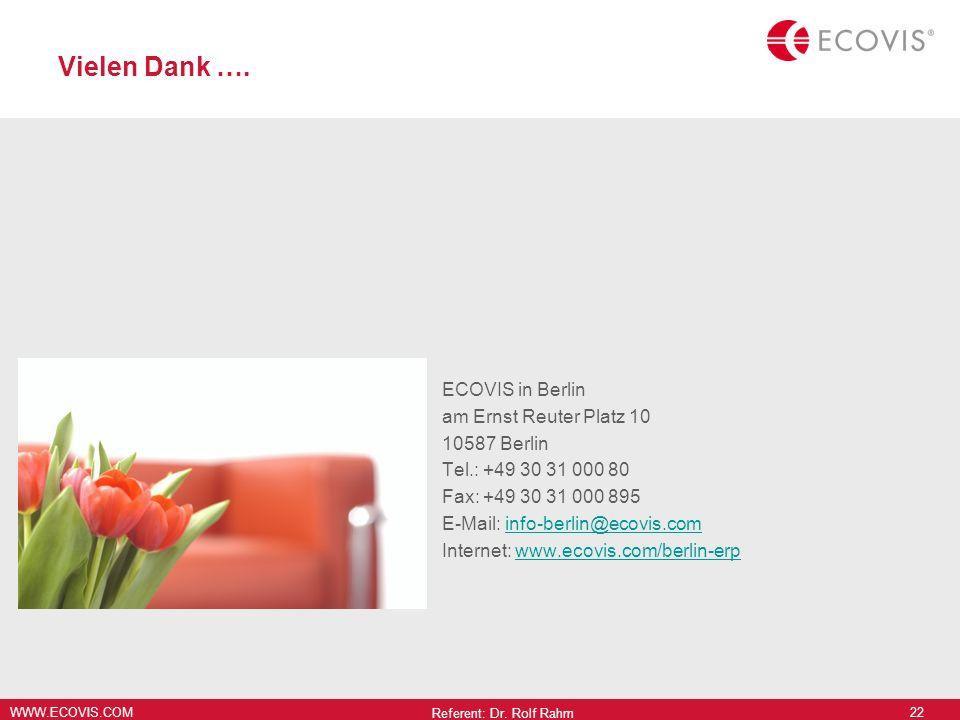 WWW.ECOVIS.COM Vielen Dank …. ECOVIS in Berlin am Ernst Reuter Platz 10 10587 Berlin Tel.: +49 30 31 000 80 Fax: +49 30 31 000 895 E-Mail: info-berlin