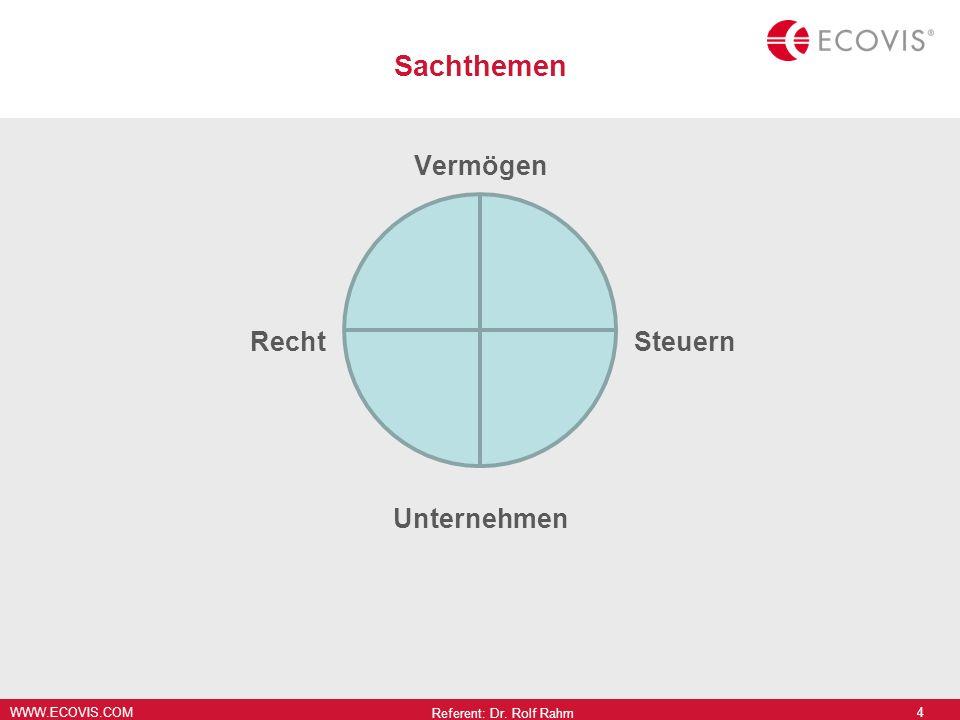 WWW.ECOVIS.COM Sachthemen Vermögen RechtSteuern Unternehmen Referent: Dr. Rolf Rahm 4