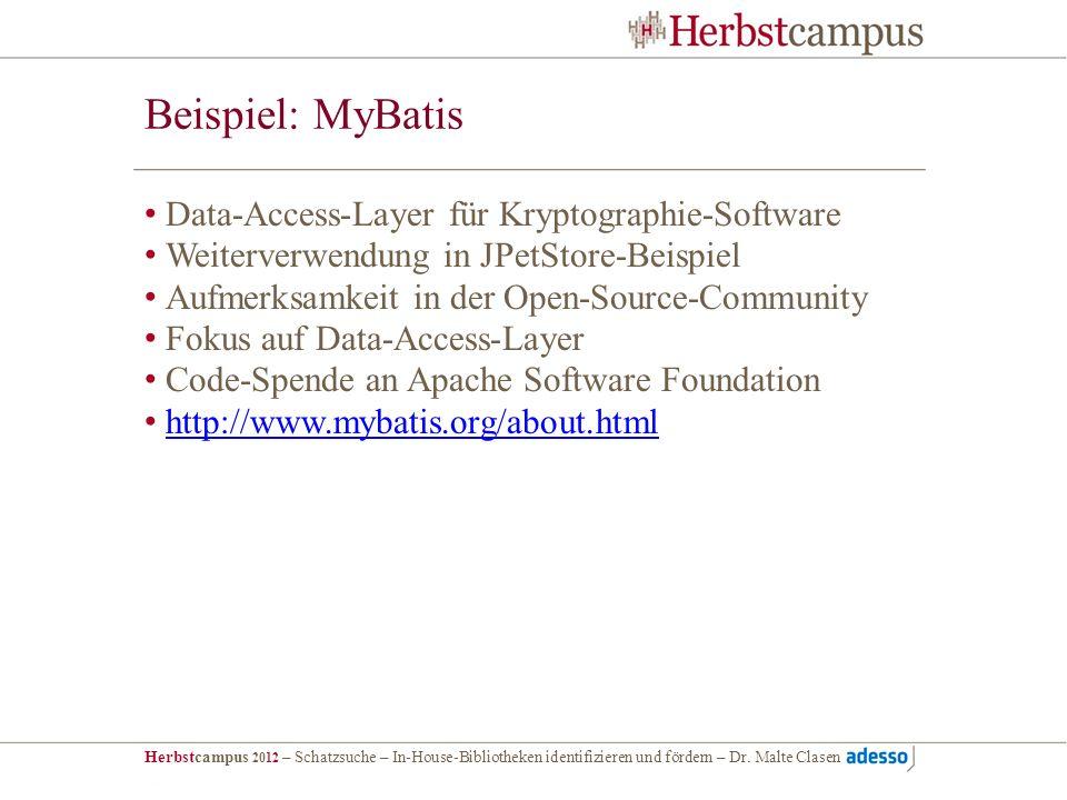 Herbstcampus 2012 – Schatzsuche – In-House-Bibliotheken identifizieren und fördern – Dr. Malte Clasen Beispiel: MyBatis Data-Access-Layer für Kryptogr