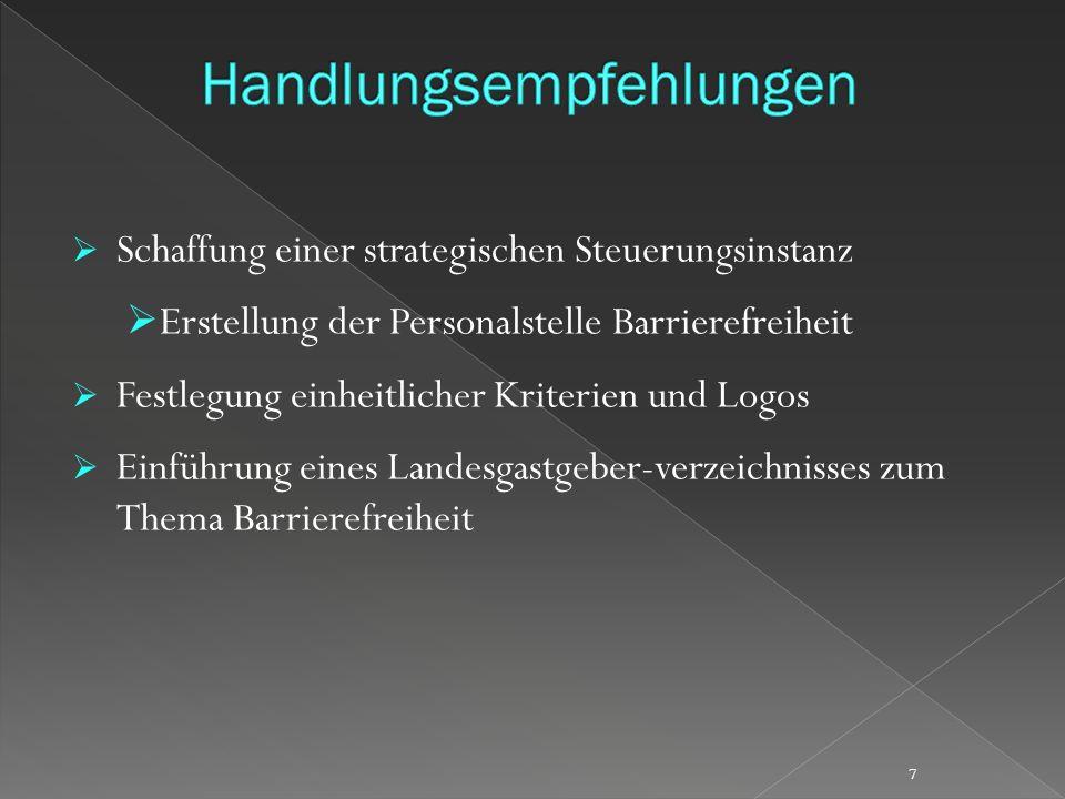 Schaffung einer strategischen Steuerungsinstanz Erstellung der Personalstelle Barrierefreiheit Festlegung einheitlicher Kriterien und Logos Einführung eines Landesgastgeber-verzeichnisses zum Thema Barrierefreiheit 7