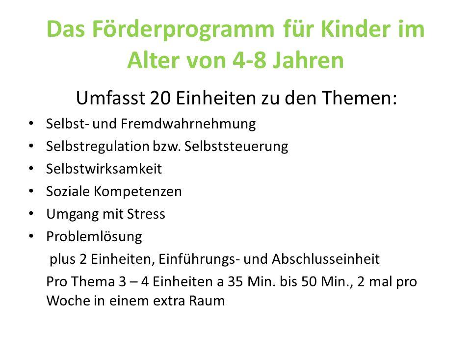 Das Förderprogramm für Kinder im Alter von 4-8 Jahren Umfasst 20 Einheiten zu den Themen: Selbst- und Fremdwahrnehmung Selbstregulation bzw. Selbstste