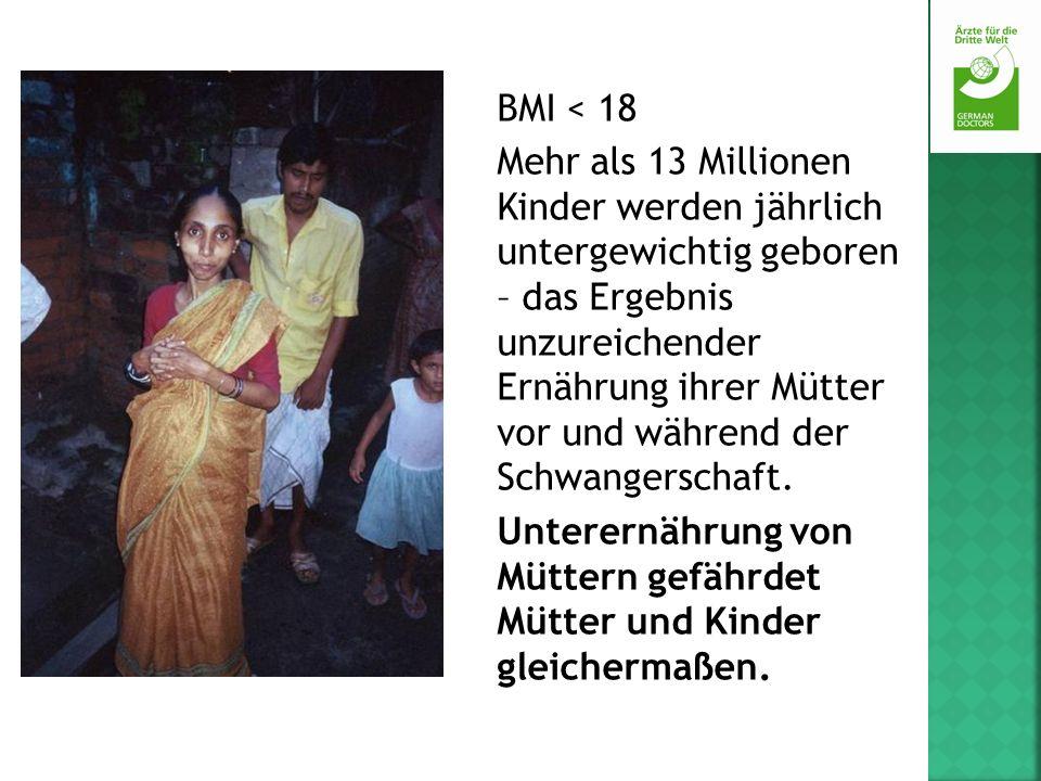 BMI < 18 Mehr als 13 Millionen Kinder werden jährlich untergewichtig geboren – das Ergebnis unzureichender Ernährung ihrer Mütter vor und während der