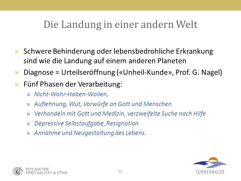 11 Die Landung in einer andern Welt »Schwere Behinderung oder lebensbedrohliche Erkrankung sind wie die Landung auf einem anderen Planeten »Diagnose =