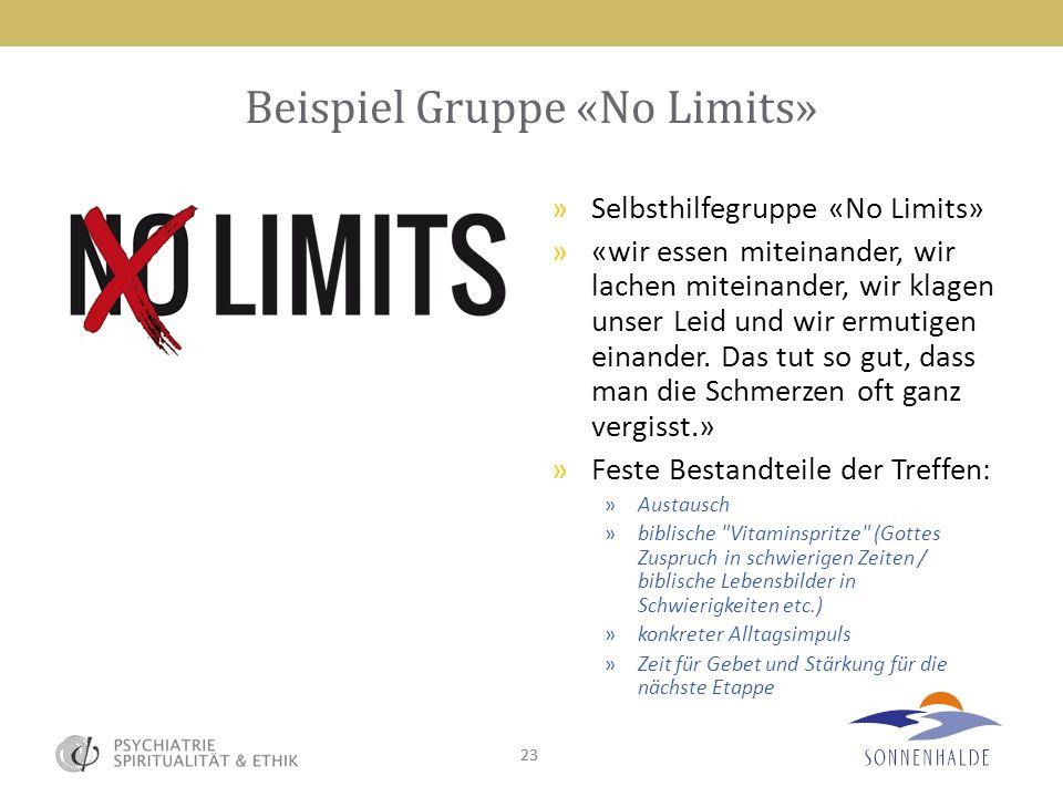 23 Beispiel Gruppe «No Limits» »Selbsthilfegruppe «No Limits» »«wir essen miteinander, wir lachen miteinander, wir klagen unser Leid und wir ermutigen