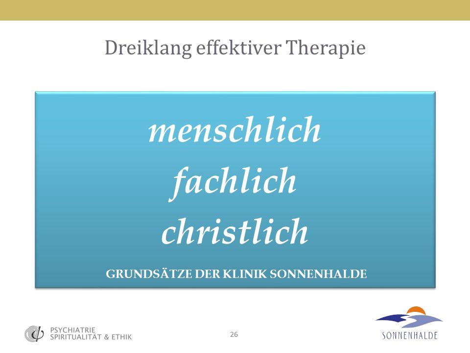 26 Dreiklang effektiver Therapie menschlich fachlich christlich GRUNDSÄTZE DER KLINIK SONNENHALDE