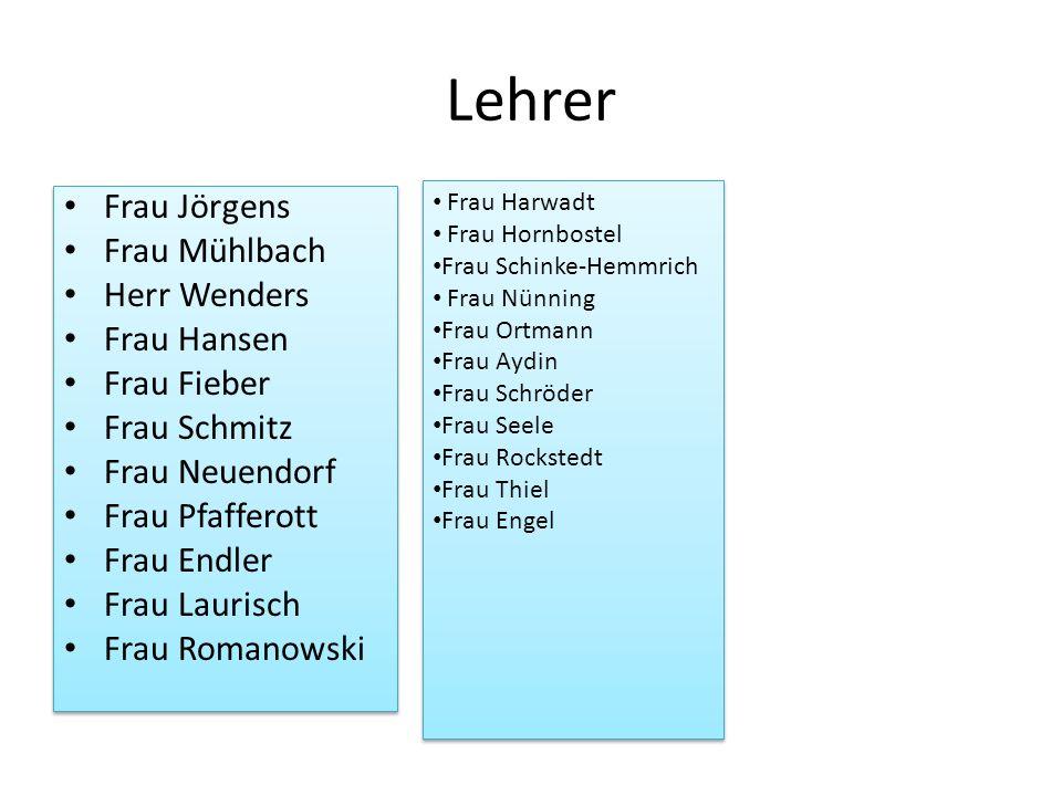 Lehrer Frau Jörgens Frau Mühlbach Herr Wenders Frau Hansen Frau Fieber Frau Schmitz Frau Neuendorf Frau Pfafferott Frau Endler Frau Laurisch Frau Roma