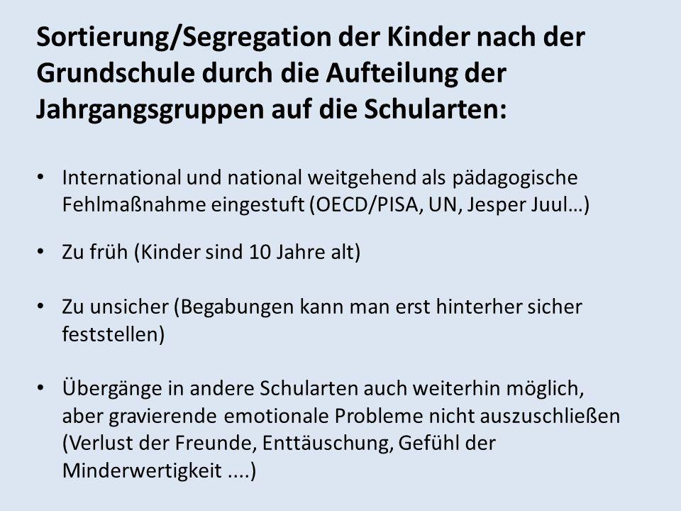 Sortierung/Segregation der Kinder nach der Grundschule durch die Aufteilung der Jahrgangsgruppen auf die Schularten: International und national weitge