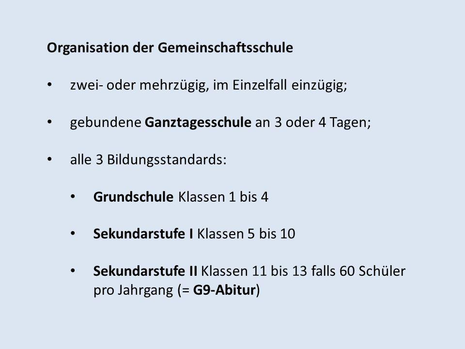 Organisation der Gemeinschaftsschule zwei- oder mehrzügig, im Einzelfall einzügig; gebundene Ganztagesschule an 3 oder 4 Tagen; alle 3 Bildungsstandar