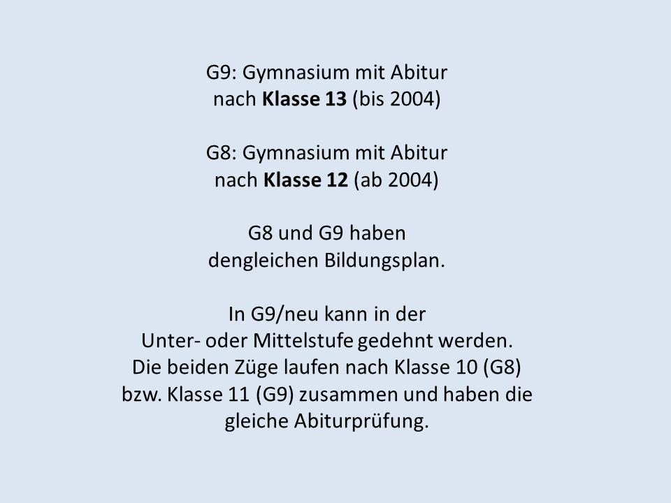G9: Gymnasium mit Abitur nach Klasse 13 (bis 2004) G8: Gymnasium mit Abitur nach Klasse 12 (ab 2004) G8 und G9 haben dengleichen Bildungsplan. In G9/n