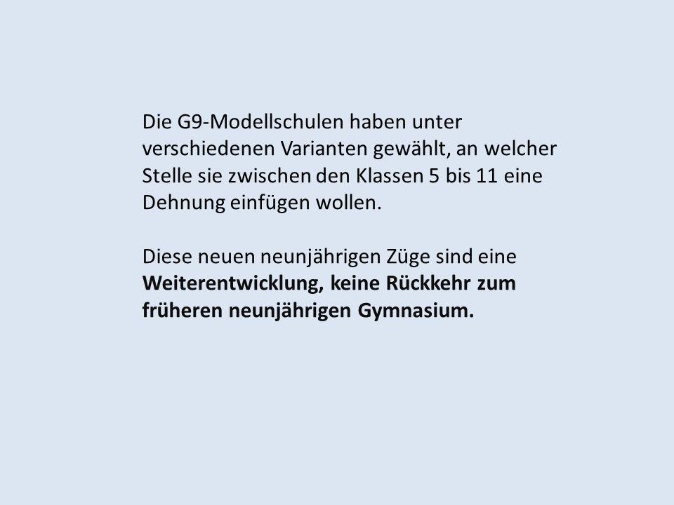 Die G9-Modellschulen haben unter verschiedenen Varianten gewählt, an welcher Stelle sie zwischen den Klassen 5 bis 11 eine Dehnung einfügen wollen. Di