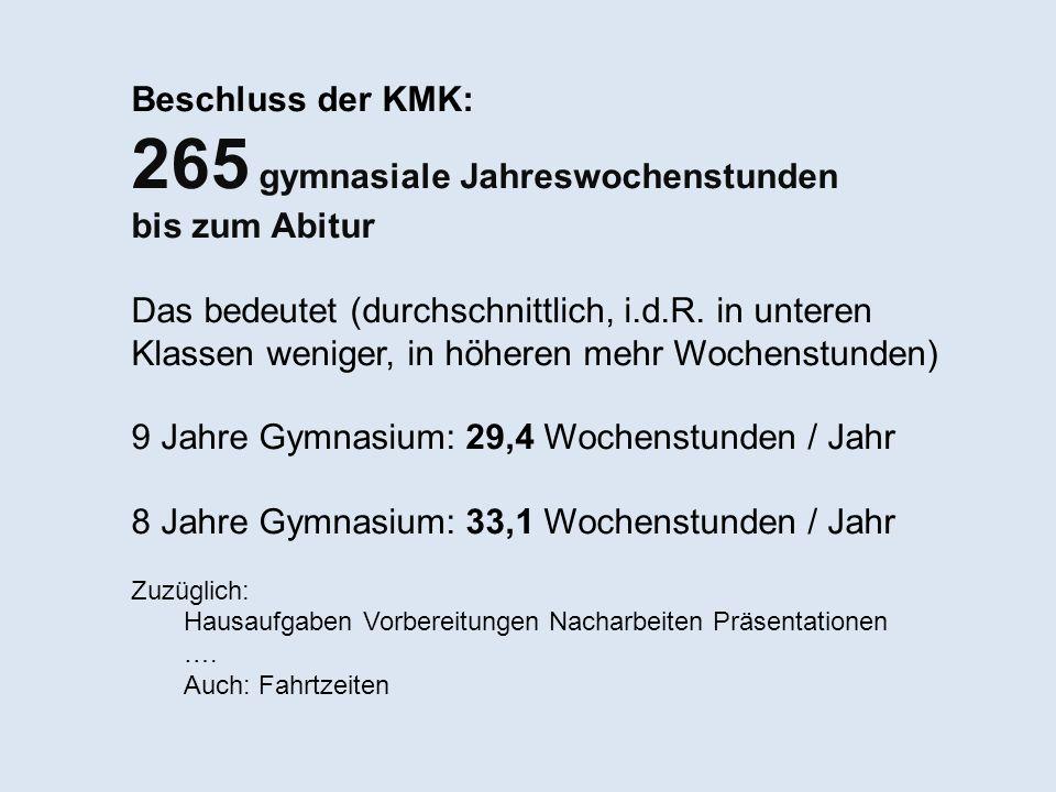Beschluss der KMK: 265 gymnasiale Jahreswochenstunden bis zum Abitur Das bedeutet (durchschnittlich, i.d.R. in unteren Klassen weniger, in höheren meh