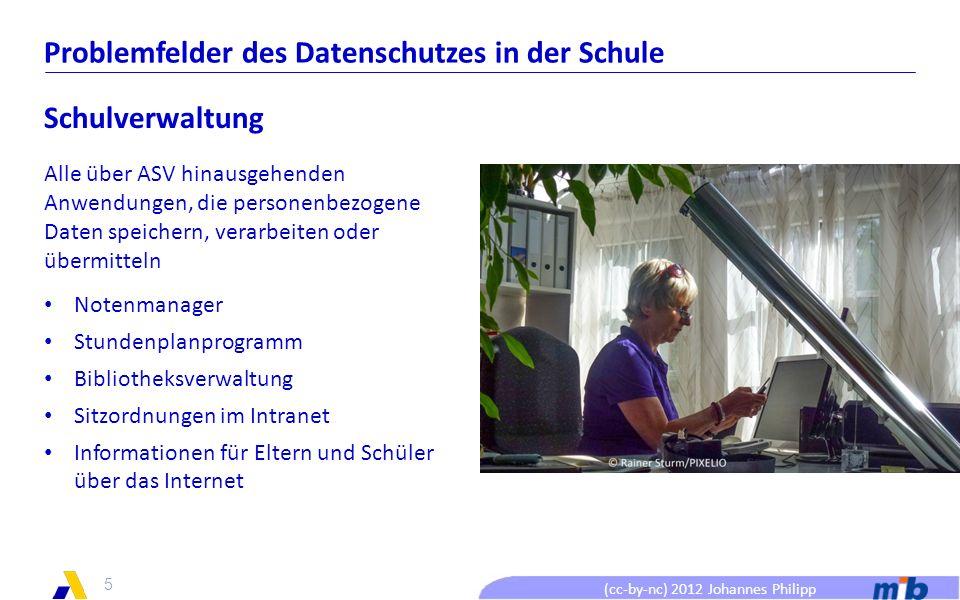 (cc-by-nc) 2012 Johannes Philipp Problemfelder des Datenschutzes in der Schule Lehrer Daten auf privaten Rechnern und Speichermedien Wer hat Zugang.