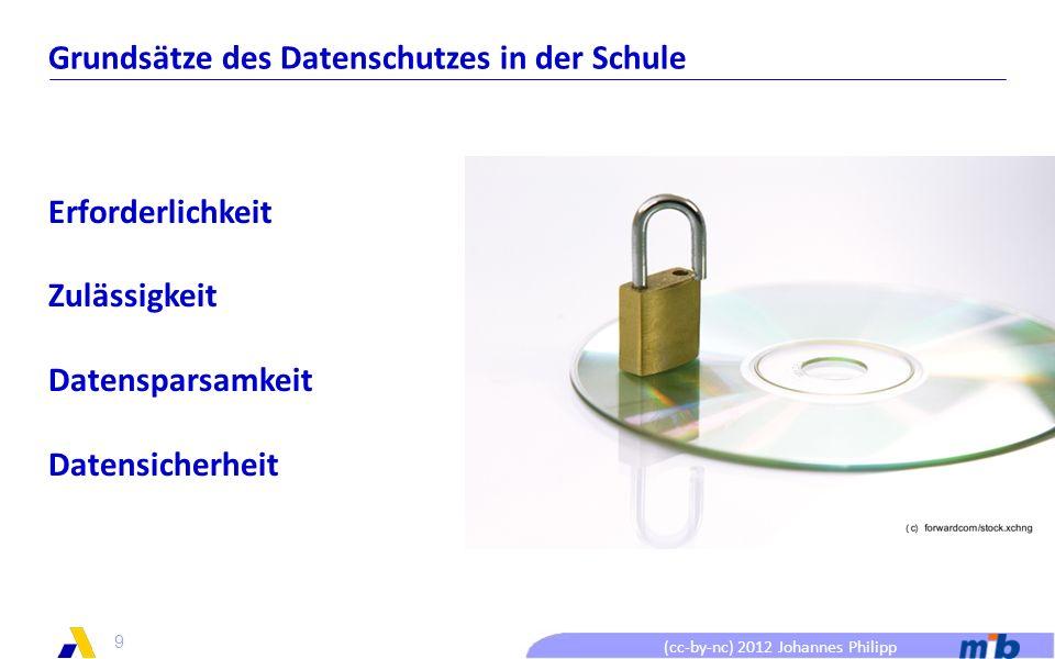 (cc-by-nc) 2012 Johannes Philipp Grundsätze des Datenschutzes in der Schule Erforderlichkeit Zulässigkeit Datensparsamkeit Datensicherheit 9